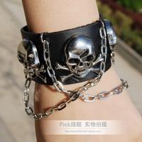 free shipping(min order10USD) punk rivet black leather non-mainstream bracelet skull metal chain wrist length bracelet-626