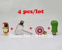 Mixed batch The Avengers Hulk hands usb flash drive 4GB 8GB 16GB 32GB Ironman/American shield/Hulk hand/Thor hammer Pen Drive