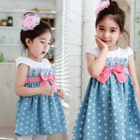 Girls Baby Kids Toddlers 1pcs Cowboy Blue Polka Dot Bowknot Dress Clothes Free shipping