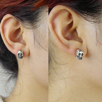 Dm-8 accessories female vintage skull personality punk stud earring quality