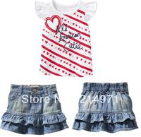 Free shipping,2 Pcs Fashion Striped Heart Pattern Short Sleeve Cotton T shirts+Denim Skirt Kids Outerwear Children Clothing Set