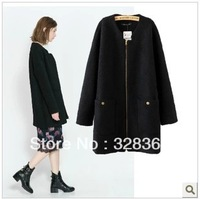 women's autumn winter elegant medium-long 2 packet  candy wool jacket fashion wool coat outerwear S,M,L