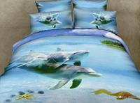 Blue Ocean Dolphin 3d bedding sets queen size 4pcs Animal print bedclothes cotton duvet/comforter cover bed sheet home textile