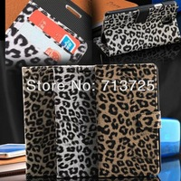 New Arrival Luxury Leopard Grain Leather Case For Samsung Galaxy Note III 3 N900 With Stand  and Card Holder, 3 Colors,10pcs/lot