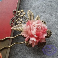 China Style Classical Resins Peony flower Ancient Hair Accessories Women Hair Jewelry