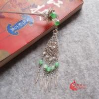 China Classical Hair Sticks Silver Jade Round Ceramics Floating flowers  Hair Clasp Tassels Hair Sticks