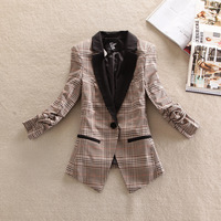 2013 women's autumn outerwear vintage british style shoulder pads three quarter sleeve slim plaid female suit