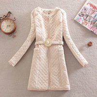 2013 women's outerwear vintage small slim waist slim medium-long cotton-padded jacket