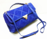 Real Leather BagsFashion Scrub Patchwork Handbag Geometry Color Block Women's Handbag