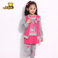 Free Shipping 2013 New Style Girls Clothing Spring and Autumn Sports Three Piece Set Female Child Long-sleeve Clothes Fashion