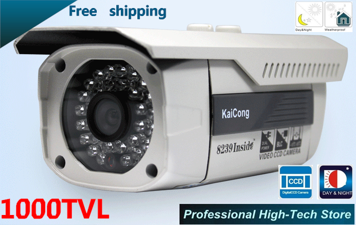 "Free shipping 50M IR Night Vision 6mm lens HD 1/3""SONY CCD CCTV Waterproof Security Outdoor Camera 328ft Long IR Range 1000TVL(China (Mainland))"