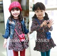 New style fashion baby girls long-sleeved dress (free bag ) ,5pcs/lot