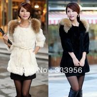Free shipping Fur coat fur outerwear 2013 rabbit fur coat medium-long short