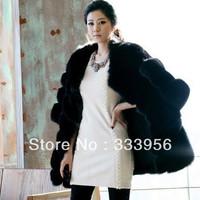 Free shipping Fox fur coat high quality luxury fur overcoat