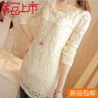 Mushroom women's autumn 2013 long-sleeve T-shirt Women long design lace basic shirt the trend