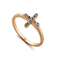 Miue brand 18K Gold Plated women fashion rhinestone cross rings 2013 gold jewelry wholesale lord of ring jewellery