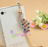 95pcs free ship colorful diamond peacock mobile phone dustproof plug cell phone chain Anti-Dust Gadgets pendant ornaments