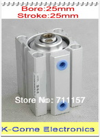 25mm Bore 25mm Stroke Pneumatic Compact Cylinder Double Action Airtac Type SDA25X25 Aluminum Alloy Free shipping