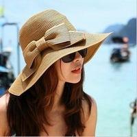 Double layer bow big along the cap beach cap large brim strawhat sun-shading hat female