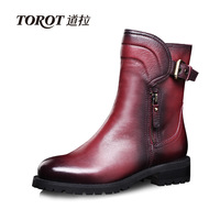 2013 autumn and winter boots martin boots genuine leather women's shoes british style round toe flat heel boots