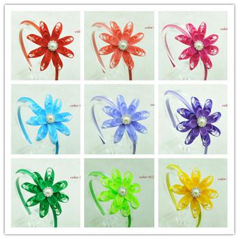 Baby Gril Christmas Hairband Satin Silk Ribbon Flowers Headband DIY Fabric Wedding Flowers Children Hair accessories 14pcs