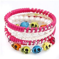 Free shipping Fashion Skull Multilayer Bracelet Strand Trendy bracelet  Bangle Jewelry  12pcs/lot