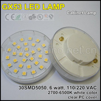 PROMOTION 1pc/lot free shipping GX53 LED cabinet lamp, 30pcs SMD5050, 6w 220v