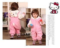 Free shipping retail 2013 autumn new baby girl's hello kitty soft romper cute pink coral fleece velvet  Hoody