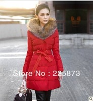 2013 winter new Korean cultivating luxury fashion raccoon fur collar long thick cotton Guangzhou wholesale