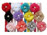 New Baby Girl Headband Hairbow Lace Bead flower Headwear Headbands 12pcs