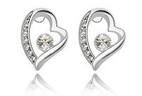 (Minimum order $10) 2014 new women fashion jewelry Wild fashion flash Crystal heart earrings forever