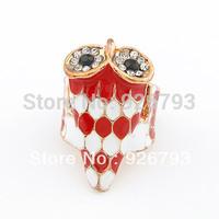 Wholesale 12pcs/lot   Classic   Fashion Rhinestone  Enamel Owl rings