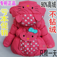 New 2013 Female child coat medium-long down kt cat baby winter outerwear wool  Free shipping  E4422