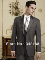 Free shipping/custom made cheap Charcoal Grey wedding Groom wear Tuxedos Best Notch Lapel Bridegroom Groomsmen Men Wedding Suits