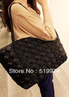 women's black classic dimond plaid  vintage bag  plaid handbag large bag