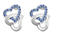 3pair 2015 new women fashion jewelry 013 flash drill heart earrings knot multicolor crystal  factory