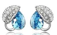 (Minimum order $10) 2014 new women fashion jewelry 019 full Crystal wholesale custom Acacia leaf earrings