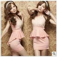 New arrival women's elegant sexy lace patchwork dovetail type slim hip dress one-piece dress