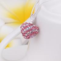 New Arrival!!Wholesale 925 Silver Necklace,Disco Ball Bead,Fashion Crystal Jewelry Shamballa Necklace Heart Pendant SBN096
