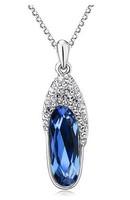 (Minimum order $10) 2014 new Korean imports natural crystal pendants fashion women fashion necklace sapphire slippers