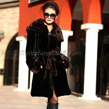 New winter women's fur coat imitation imitation mink coat mink cashmere hooded Europe weatherization