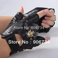 Men's Motorcycle Sheepskin Leather Fingerless Half Gloves Skull - Black