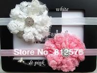 Baby headbands 8colors chiifon rose round Flower with full rhinestone flower headbands 20pcs/lot