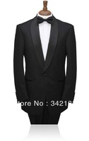 Free shipping/Custom made cheap Groom Tuxedos/Black Best Man for suits Lapel Bridegroom Groomsmen Men Wedding groom wear dress
