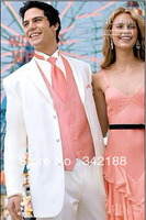 FREE shipping/custom made chear White Groom Tuxedos Peak Lapel Groomsmen Men Wedding groom wear Suit/italian A for men's dress