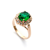 brand 18K women fashion imitate diamond turquoise engagement rings for women 2013 gold plated jewelry wholesale emerald ring