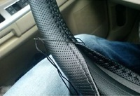 New Car Vehicle Genuine Leather Steering Wheel Cover With Needles+Thread Black free shipping