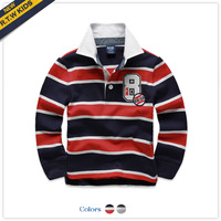 Free Shipping Rtw 2013 autumn male child 100% cotton stripe long-sleeve  polo T-shirt