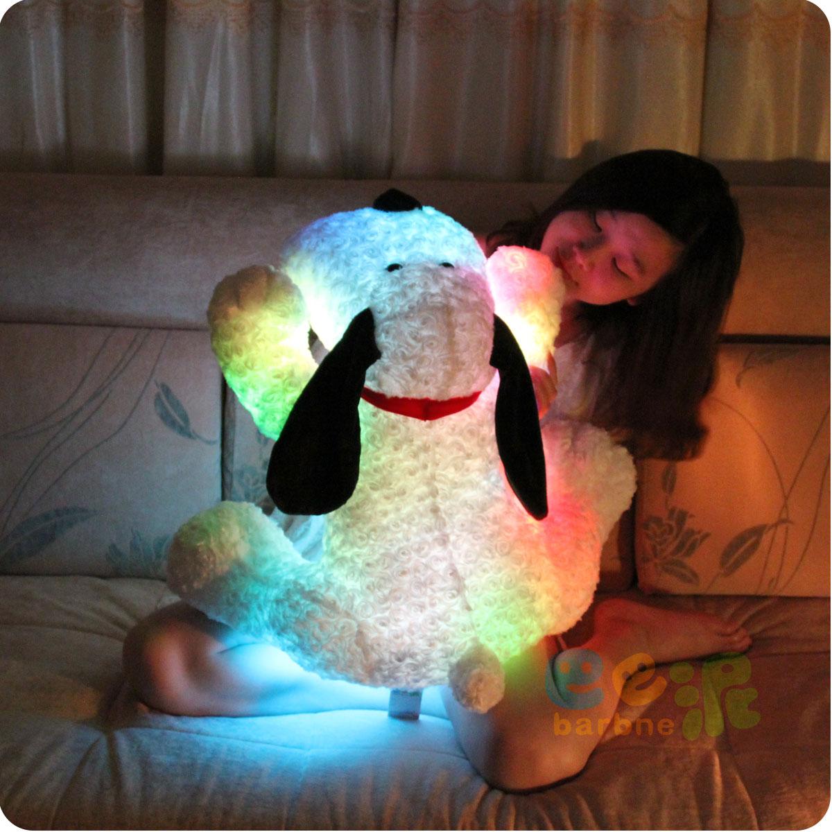 Birthday gift girls light emitting dog tare panda plush toy cloth doll dolls(China (Mainland))