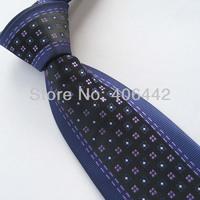 Yibei Coachella Ties Navy Border Black With Lilac Grids Jacquard Woven Necktie Gravata Formal Neck tie For Men dress Party